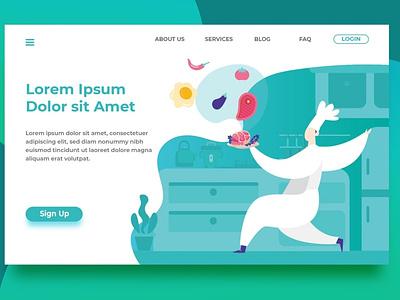 Chef Header Landing Page template web design ui media landing page illustration editable design business branding