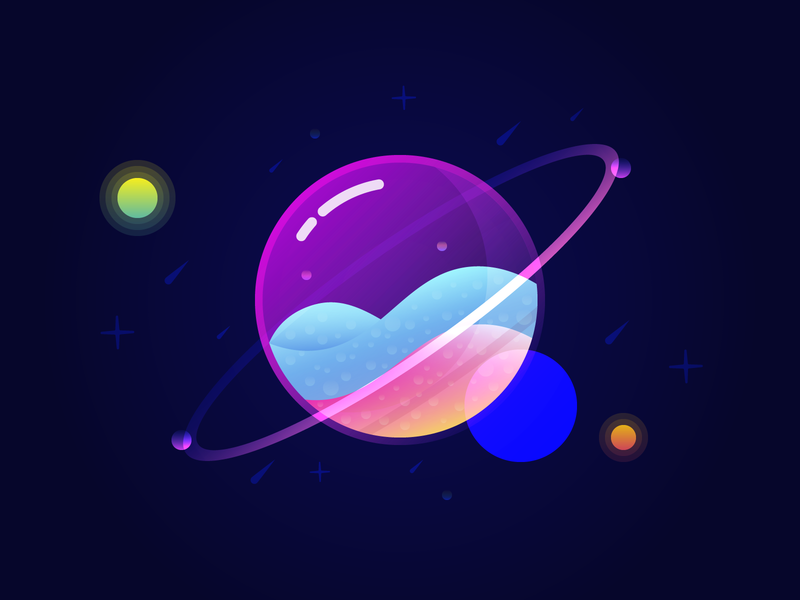 Marble planet stars galaxy marble planets colorful artwork illustration design