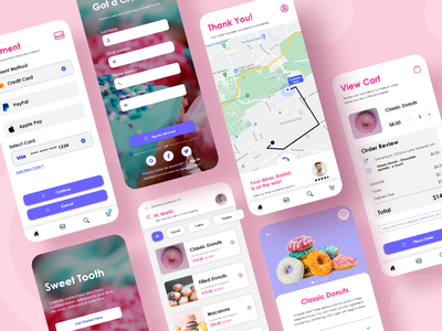 Sweet Tooth - Mobile Food Delivery payment sweets pink food app food mobile app mobile donuts delivery app delivery