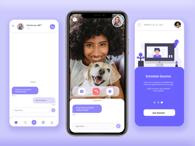 Therapy App - Mobile Telehealth Concept scheduling glassmorphism clean minimalist chat video purple counselor therapy health telehealth mobile app mobile