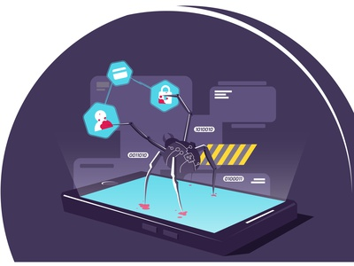 Cyber spider on smartphone hacks data vector illustration. Hac troian