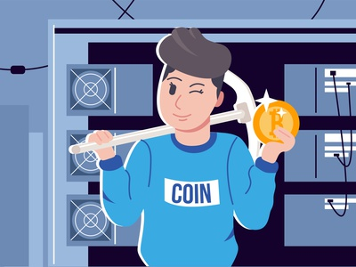The miner extracts cryptocurrency on a mining farm. Illustration illustration