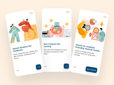 Investo - Smart Finance For Students. onboarding ui onboarding screens onboarding screen onboarding financial app finance app finance ux minimal user illustration typography junior app ui design