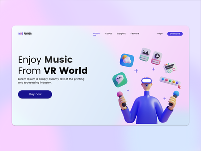 MXE - VR Music player ui design vr clean ui behance uiux illustraion 3d ui dribbble dailyui landingpage webdesign 3dillustration