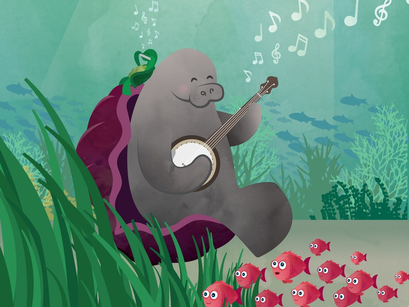 Manatee Mania illustrator design just for fun manatee banjo whimsical whimsy illustration