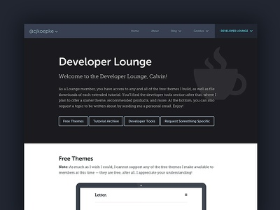 Developer Lounge blog theme wordpress ux ui typography web design genesis framework
