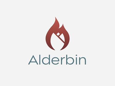 Alderbin Logo rose fire typography icon vector branding illustration logo