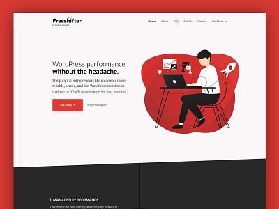 Freeshifter - Managed WordPress Performance web development launch typography ux webperf logo ui web design wordpress