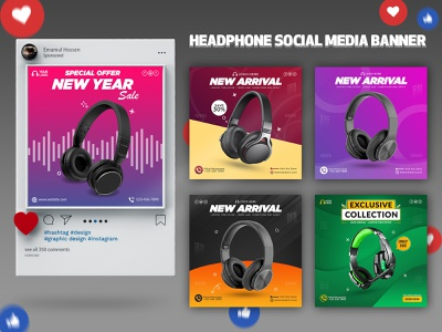 Headphone Social Media Banner Design advertising design headphone banner banner design banner ads web banner ad web banner design facebook ad web banner facebook banner social media design google ad banner instagram post facebook post instagram banner social media templates social media post social media banner social media modern banner
