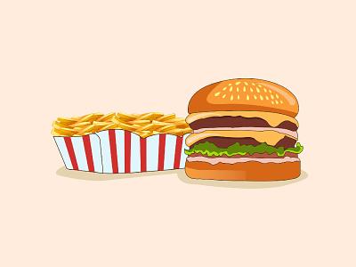 Burger & French Fries Illustration food illustrations fastfood vector illustration vector art vector illustrator food illustration illustrations illustration french fries burger fast food food illustration art