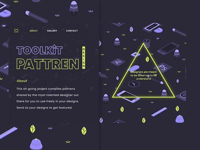 Pattrens Toolkit Landing Page website web ui ux illustration design