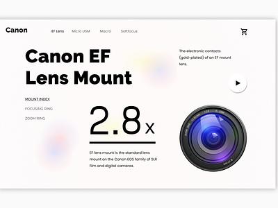 Canon Lens Landing Page landing page design website web ux ui illustration design