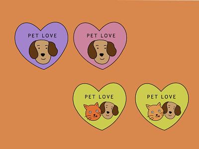 logo pet different variations animal illustration design minimal love pet berlin logo