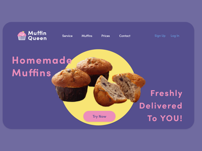 daily UI landing page - muffin delivery service muffin branding ecommerce minimal landingpage dailyui ui