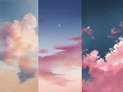 Sky and Clouds Practice clouds blue sky illustrator illustration