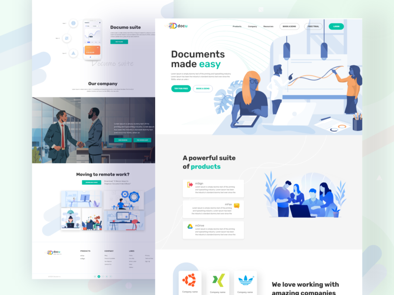 Document landing page white color product landing page webdesign web graphic design illustration website animation minimal typography ux ui design 2020 trend 2020