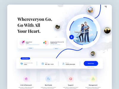 travel agency landing page interface vector vacation traveling app agency 3d app best shot clean ui travel agency product website design illustration webdesign ui  ux homepage web website landing page graphic design