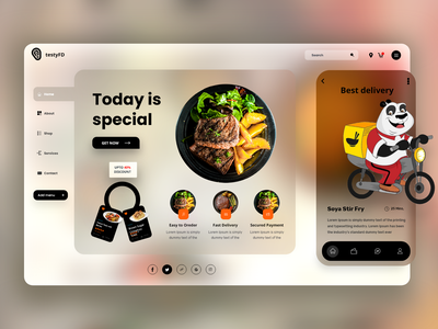 Food  Web Concept interface homepage design branding food mobile app food landing page 3d product vector home page typography clean ui website design web website landing page graphic design illustration webdesign ui  ux