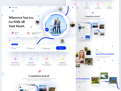 travel agency landing page interface animation home page design vacation travel app travel agency vector 3d app home page typography product clean ui website design illustration webdesign web website landing page graphic design