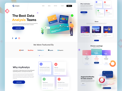 Data Analysis Landing Page 2 analysis team landing page ui design data visualization interface webdesign clean ui home page website design graphic design website web data analysis landing page agency landing page data analysis