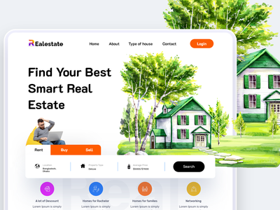 Real Estate Property Landing Page lines real estate agency real estate design landing page design home page website design webdesign website landing page masud mrstudio architecture building apartment hotel house flat real estate realtor