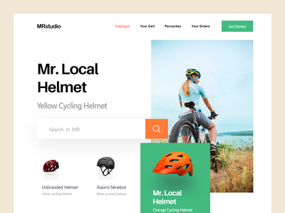 Helmet Landing Page bicycle homepage design web design helmet helmet website landing page design masud mrstudio product home page website design webdesign interface web website landing page