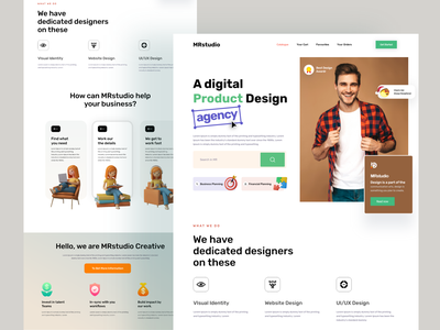 Agency Landing page Design home page mrstudio ui design landing page design home page design website design webdesign web interface website homepage design landing page