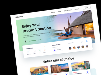Hotel & Resort booking landing page hotel cabin cabin vacation travel agency hotel booking trip room booking restaurants home page webdesign website design web website landing page