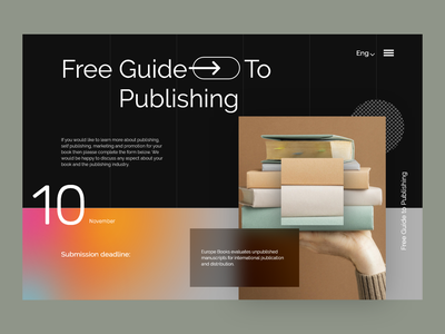 Book Publishing Landing Page: website guide book publishing ui ux interface home page webdesign website design web landing page website audio book note book library education book store ebook online book online book store book editorial reading