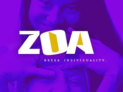 ZOA (zo·a. noun) logo creative design concept design branding concept branding agency branding