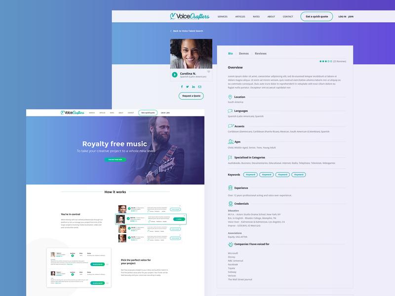 voicecrafters landing page website design interface design