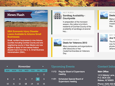 Homepage photoshop turquoise grey blue orange purple news layout calendar events