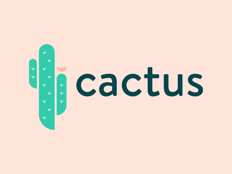 Cactus Logo mark texture web sketch illustration icon design branding brand app green pink logo cactus