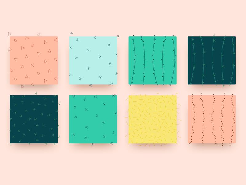 Cactus Patterns design vector texture sketch simple minimal color branding patterns illustration cactus yellow green pink