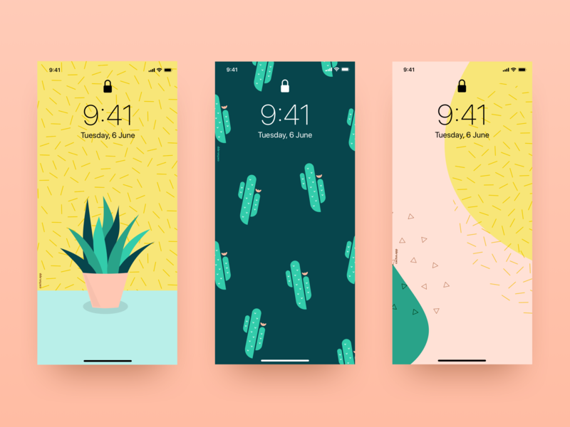 Free Wallpapers branding sketch vector design iphone phone texture illustration wallpapers wallpaper yellow green pink cactus