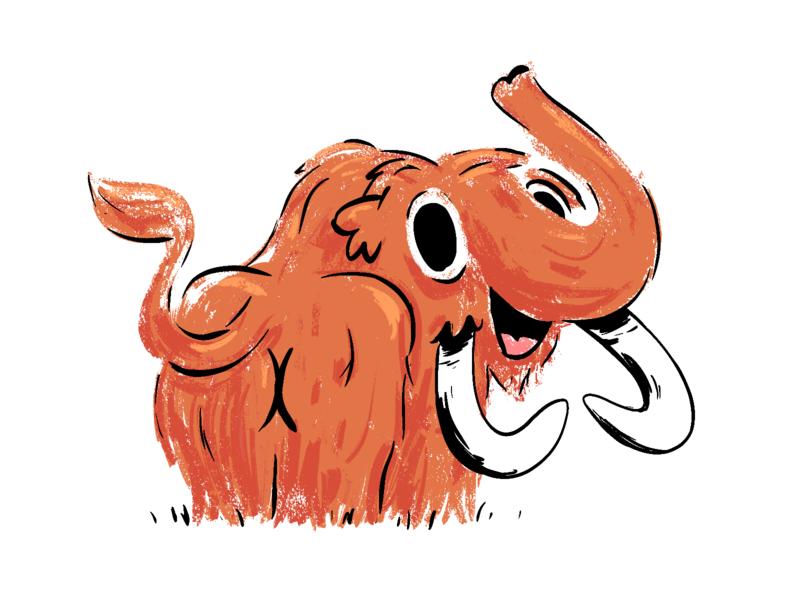 Mammoth procreateapp prehistoric beast animal drawing cute mammoth procreate cartoon character mishax