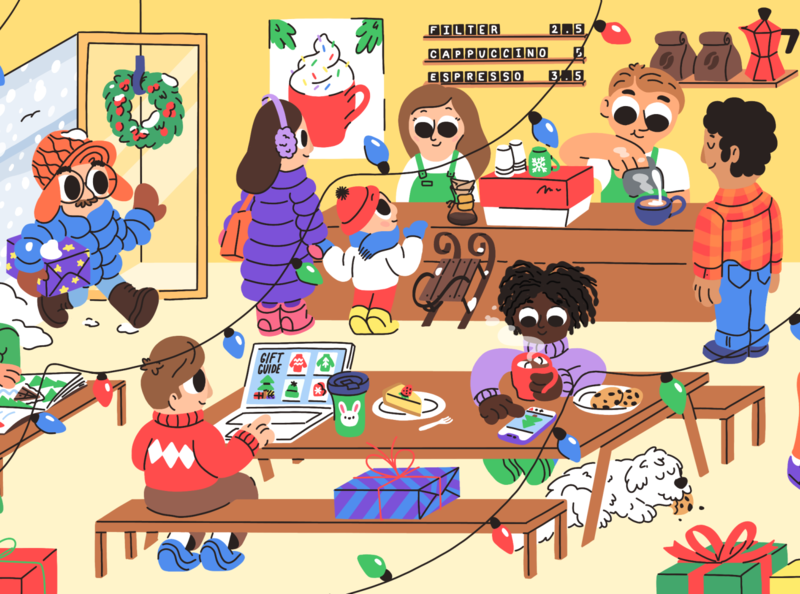 Holiday season holidays gifts child kids coffee cafe winter drawing character illustration christmas season mishax