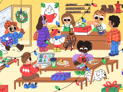 Holiday season holidays gifts child kids coffee cafe winter drawing character illustration christmas season mishax