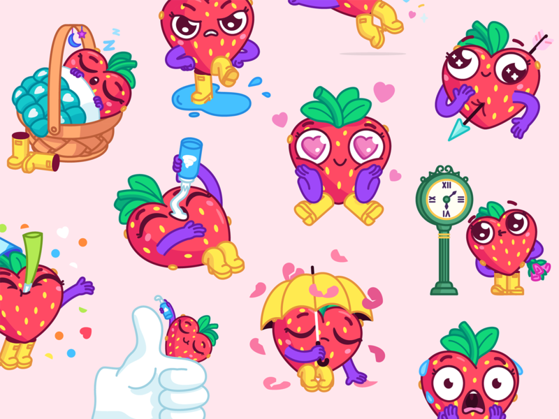 Sweety Strawberry emotions cartoon stickerpack stickers animation mishax love valentine valentine day strawberry
