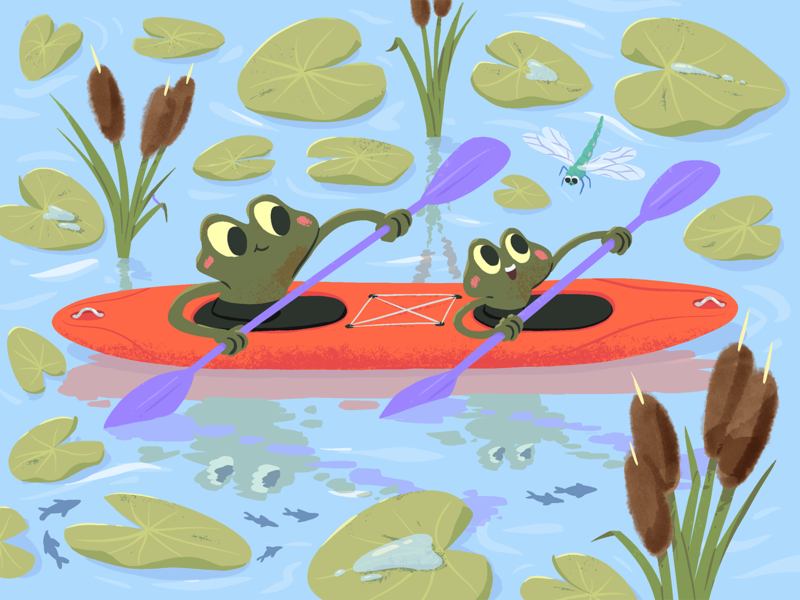Frogs kayaking dragonfly children childrens book kids art kids paddle reed water lily kayak kayaking frogs frog cartoon mishax