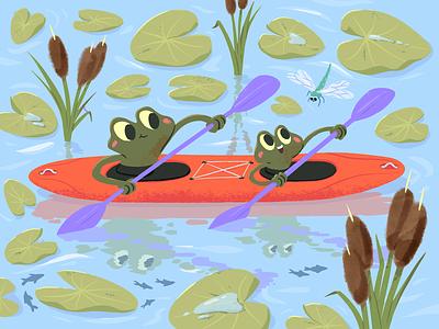 Frogs kayaking dragonfly children childrens book kids art kids paddle reed water lily kayak kayaking frogs frog cartoon mishax
