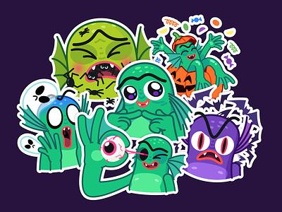 Creature pumpkin gilman trick or treat creepy eye spider ghost halloween stickers illustration character mishax creature