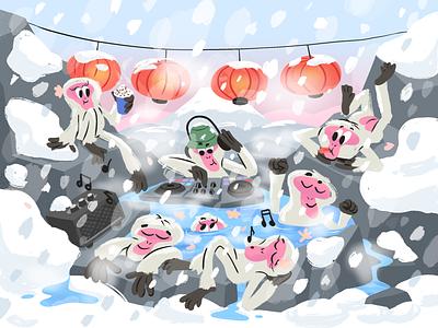 Pool party Japan onsen mountain snow lanterns monkey monkeys hot springs japan party pool