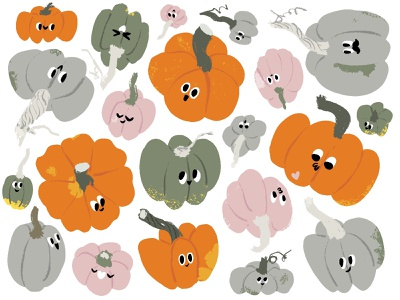 12. Pumpkins fall autumn halloween pattern cartoon illustration mishax pumpkins pumpkin
