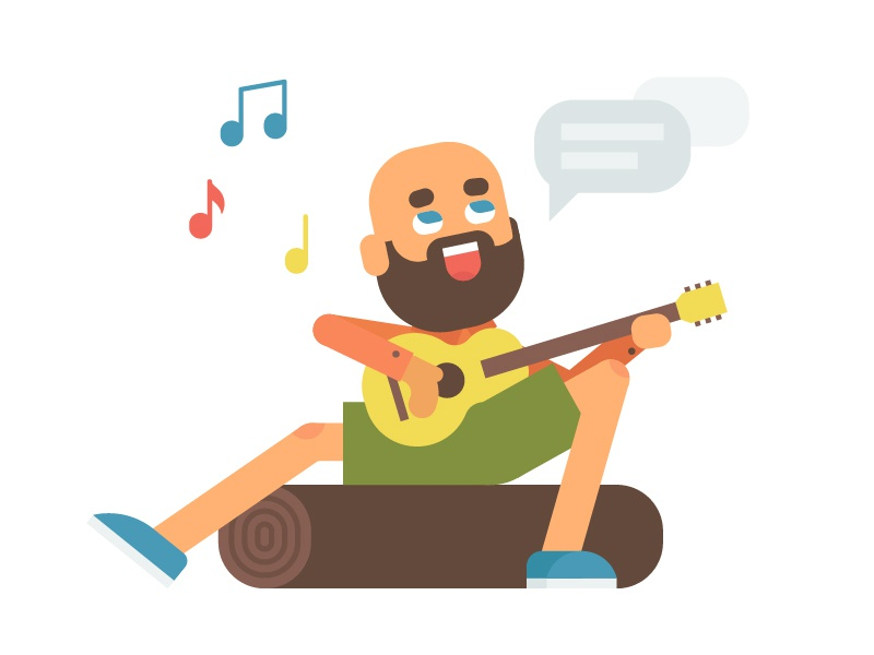 Playing guitar bald beard play song guitar sings mishaxgraphic mishax nature happy camper camp