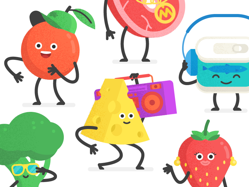 Rus Foodbank characters (Music Video)  music boombox mishax character canned orange meat vegetables strawberry fruits cheese broccoli