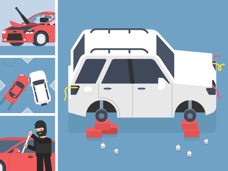 Сar accidents break bat lights wheels theft accident thief tinkoff mishax insurance car auto