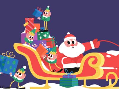 Santa is coming! deer christmas sleigh gifts mishax vector cartoon elf claus santa year new