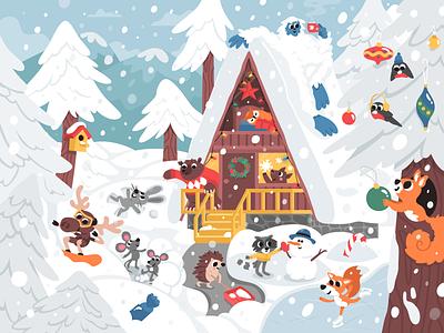 Holidays kids children christmas year new cartoon vector house animals mishax 2018 snow forest holidays