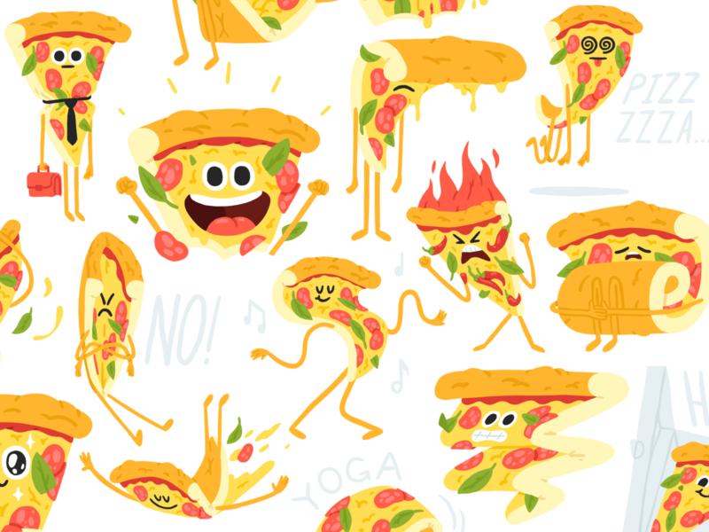 Pizza stickers telegram procreate pizza box stickers character cartoon mishaxgraphic mishax